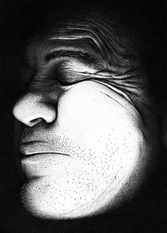 "Draw Portrait Pointillist portrait made with million dots. - ""Hero"" by artist Miguel Endara is a pointillist portrait of his father. Endara estimates he used million dots to create the portrait (see the charming Stippling Drawing, Dotted Drawings, Ink Drawings, Pigma Micron, Chiaroscuro, Illustrations, Le Point, Contemporary Art, Face"