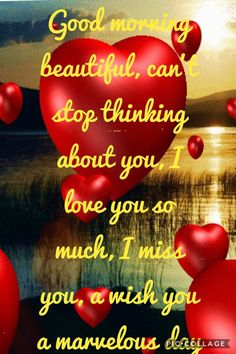 Good morning beautiful, can't stop thinking about you, I love you so much, I miss you, a wish you a marvelous day