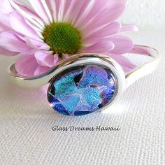 Dichroic Glass Cuff Bracelet  Fused Glass by GlassDreamsHawaii