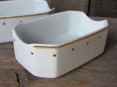 ONE Porcelain Dish; Vintage Eschenbach Porzellan Germany Rectangular Bowl; White with Golden Accents Snack Appetizer Dish / Elegant Ashtray