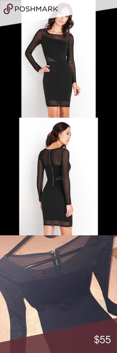 GUESS Ponte mesh dress Black, mesh material, gently worn a few times, great condition! GUESS Dresses Long Sleeve