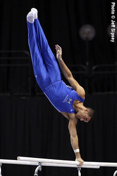 Danell Leyva competes on the parallel bars during night one of the 2012 Visa Championships, the qualifying meet for the USA Gymnastics Olympic Trials.  Leyva finished with the highest score on the event during prelims. - www.london2012.com #gymnastics #olympics #london2012