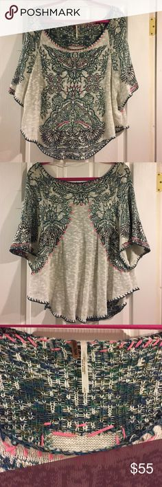 NWOT Free People Embellished Short Sleeve Sweater •Embellished stitching in blue, green, and pink •No Tags, never worn! •84% Cotton/ 5% Linen/ 5% Nylon/ 3% Silk  👾NO TRADES 👾OFFERS WELCOMED! 👾BUNDLE TO SAVE  👾FEEL FREE TO ASK ANY QUESTIONS Free People Sweaters Crew & Scoop Necks