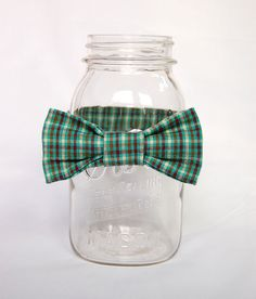 Toddler Boy Baby Bow Tie in Green, Brown and Cream Plaid. $15.00, via Etsy.