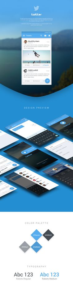 Twitter Redesign Material Design Concept on Behance