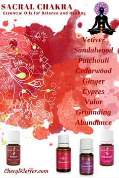 ROOT CHAKRA – Staying grounded in present; releasing anger & other deep-seated emotions             Singles Vetiver Sandalwood Patchouli Cedarwood Ginger Cypress Blends Valor Grounding Abundance Apply to the bottom of the feet and spine   OTHER WAYS TO USE ESSENTIAL OILS FOR CHAKRA BALANCING Foot Massage Meditation Diffusion Sensual Bath Body Scrub Meditative temple Massage Simple Oil Perfumes