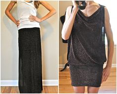 How to turn skirt into convertible drape dress!!!