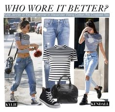 """""""Who Wore It Better?Kylie Jenner or Kendall Jenner in Alexander Wang Cotton Rib Cropped Tee"""" by kusja ❤ liked on Polyvore featuring Goldsign, Kendall + Kylie, T By Alexander Wang, Balenciaga, Converse, WhoWoreItBetter, AlexanderWang, kendalljenner, KylieJenner and wwib"""