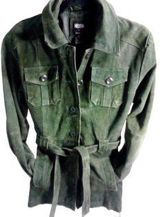 Women's Green Suede Leather Jacket, Medium  #Helium #BasicJacket
