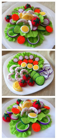 Felt Food Chef Salad featuring Lettuce Tomato Carrot Cucumber Radish Purple Onion Hard-Boiled Egg Shrimp and a Lemon Wedge . Kids Play Food, Felt Play Food, Pretend Food, Felt Food Patterns, Sewing Patterns, Felt Kids, Felt Baby, Fake Food, Sewing Toys