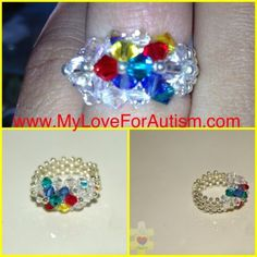 Get Yours Today! Now Available! Autism Awareness Swarovski Ribbon Ring.    Available only at     www.MyLoveForAutism.com