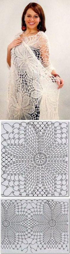 Нежная белая шаль крючком. Красивый цветочный мотив | Шаль | Постила