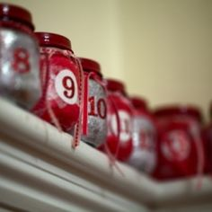 advent calendar made from baby food jars!