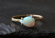 Opal Teardrop Stacking Ring by LexLuxe on Etsy