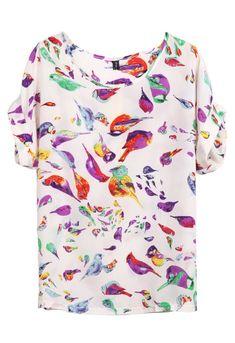 Beige Batwing Short Sleeve Birds Print Loose Chiffon T-Shirt - Sheinside.com