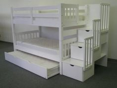 Amazon.com: Stairway Bunk Bed Twin over Twin in White with 3 Drawers Built in to the Steps and a Twin Trundle: Home & Kitchen