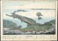 1853 oblique view of Italy #map #italy #italia