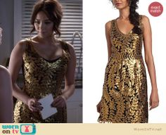 Emily's gold leaf dress on Pretty Little Liars.  Outfit details: http://wornontv.net/13305/