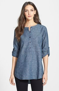 Free shipping and returns on Eileen Fisher Chambray Tunic Shirt (Regular & Petite) at Nordstrom.com. A five-button henley placket fronts a collarless tunic cut from lightweight chambray in a soft, natural-fiber blend. Roll-tab sleeves and a shirttail hem keep the attitude relaxed.