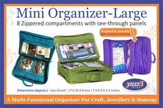 Yazzii - Mini Craft Organizer - Available in Various Colors - Multi Functional Sewing Box, Sewing Tools, Mini Craft, Notes Design, Cosmetic Storage, Craft Accessories, Purse Organization, Quilted Bag, Craft Storage