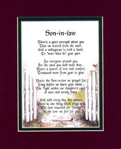 Wedding Gifts For Daughter And Son In Law : ... With Watercolor Graphics. A Gift For A Son-in-law. Poems For In-laws