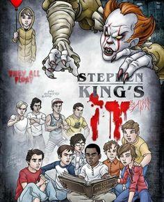 it 2017 fanart loser club Steven King, Its 2017, Evil Demons, Pennywise The Clown, King Art, Horror Films, Great Movies, Comic Art, Devil