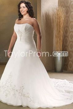 Gorgeous A-Line/Princess Strapless Cathedral  Embroidery  Plus Size Wedding Dresses (3H0033)