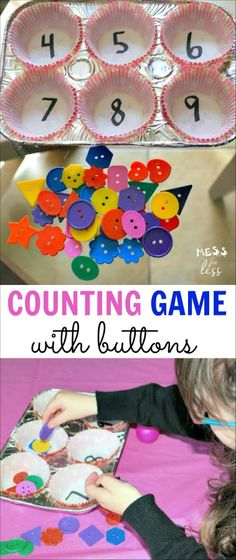 Counting Game with Buttons – an easy way to help preschoolers with their countin… Counting Game with Buttons – an easy way to help preschoolers with their counting skills. Counting Activities, Kids Learning Activities, Infant Activities, Space Activities, Number Games Preschool, Kindergarten Games, Number Games For Preschoolers, Fun Classroom Games, Math For Kids
