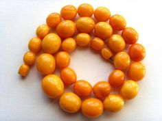 #Antique #genuine #Baltic #amber #beads #necklace #egg #yolk