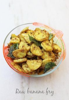 Raw banana fry is an easy side dish that tastes delicious with rice. Learn to make spicy raw banana fry with step by step pictures Tasty Vegetarian Recipes, Veg Recipes, Curry Recipes, Cooking Recipes, Indian Chicken Recipes, North Indian Recipes, Indian Food Recipes, Aloo Methi Recipe, Methi Recipes