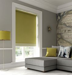 Colour block your home: Blackout blinds aren't just for the bedroom – in the living room they protect against the glare and heat of bright sunshine and will help keep the room cool. This citrus roller blind is from The Fabric Box (http://fave.co/2bCbAAZ). Find more advice at housebeautiful.co.uk