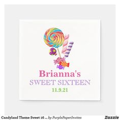 Candy Theme, Candy Party, Sweet 16 Decorations, Circus Carnival Party, Party Napkins, Party Accessories, Candyland, Sweet Sixteen, Birthday Invitations