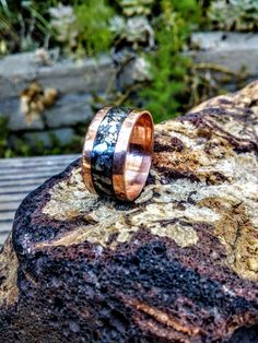 Grey Silver Copper Ring.  Metallic Stone Inlaid.  6-15 mm Wide. by NAKOBI on…