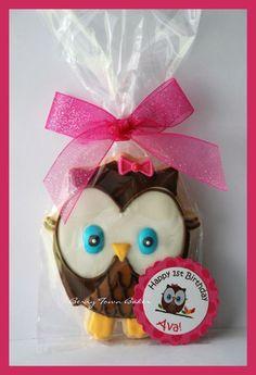 Look Whoos turning one 1st birthday girl owl cookies