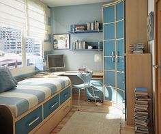 "Another cool bedroom I found online. They are labeled ""for teens"" but they'd be cool for a kid too. So much storage!"