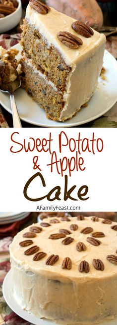 Sweet Potato and Apple Cake - A Family Feast - A super moist and delicious cake filled with nuts and raisins in a cake batter of sweet potato and apples. Superb!
