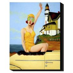 "Global Gallery 'Wheels in the Sky' by Fred Calleri Graphic Art Print on Canvas Size: 24"" H x 18"" W x 1.5"" D"