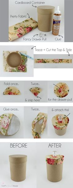 DIY Pretty Storage Containers If you like these Pretty Storage Containers, check out my DIY Makeup Brush Box: I'm a very proud contributor to Craft-O-Maniac. You can find me and this pretty tutorial here: