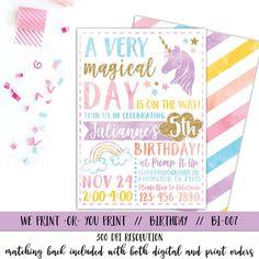 Unicorn Invitation Rainbow Invitation Magical von qtpaperie auf Etsy