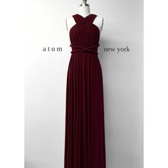 Burgundy Wine Red Long Floor Length Ball Gown Infinity Dress... ($49) ❤ liked on Polyvore featuring dresses, gowns, dark olive, women's clothing, long red gown, red evening gowns, formal dresses, long evening dresses and red ball gown