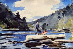Winslow Homer >> Hudson River, Logging | (Oil, artwork, reproduction, copy, painting).