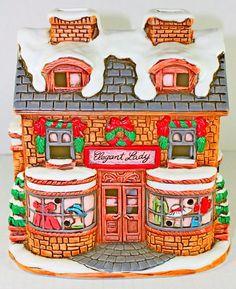 Lefton Colonial Village Christmas House 1991 Elegant Lady Deed Light Cord & Box