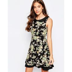 Yumi Floral Skater Dress With Peterpan Collar ($43) ❤ liked on Polyvore featuring dresses, black, floral print dress, flounce hem dress, skater dress, woven dress and round neck sleeveless dress