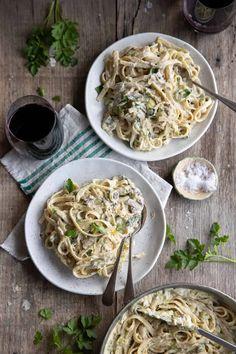 Mushroom Pasta, Mushroom Sauce, Fettuccine Pasta, Quick Easy Meals, Vegan Recipes, Stuffed Mushrooms, Minimalist, Favorite Recipes, Lovers