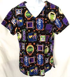 Medical Veterinary Scrub Top Shirt Halloween Boo! Witch Dracula Skeleton Size S #SBScrubs