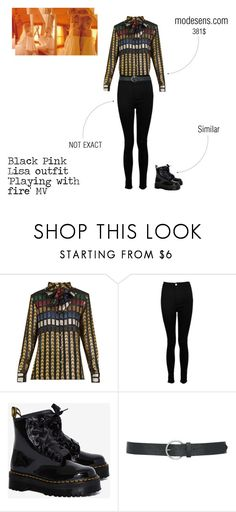 """Black Pink Lisa MV Outfit 'Playing with fire'"" by biasedblackpink ❤ liked on Polyvore featuring Boohoo, Dr. Martens, M&Co, kpop, YGentertainment and BlackPink"