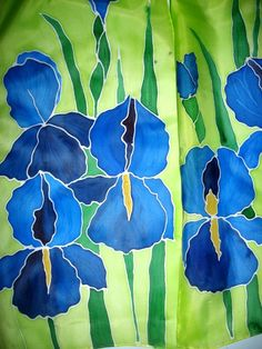 Blue IRISES Hand Painted SILK SCARF by SilkMagic on Etsy, $43.00