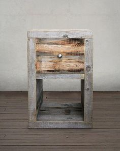 Rustic Reclaimed Wood Grey End Table, Side Table, Nightstand With Drawer and Open Storage Compartment Small Furniture, Recycled Furniture, Home Decor Furniture, Indian Furniture, Reclaimed Wood Side Table, Reclaimed Wood Nightstand, Barn Wood Projects, Cool Woodworking Projects, Woodworking Plans