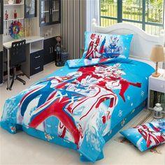 Japanese Anime Character Super Hero Ultraman Bedding Set Twin Size Cotton Bed Sheets Pillowcase Duvet Cover Children Bedroom Set #Affiliate