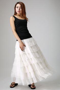 White chiffon skirt woman maxi skirt long tulle skirt layered skirt (895) by xiaolizi on Etsy https://www.etsy.com/listing/49331407/white-chiffon-skirt-woman-maxi-skirt